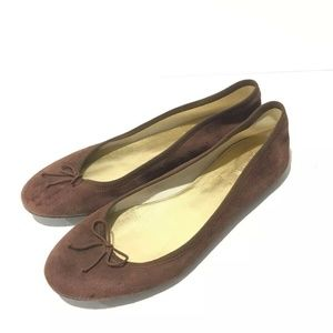 J Crew Brown Suede Ballet Flats Size 9 Bow Slip On